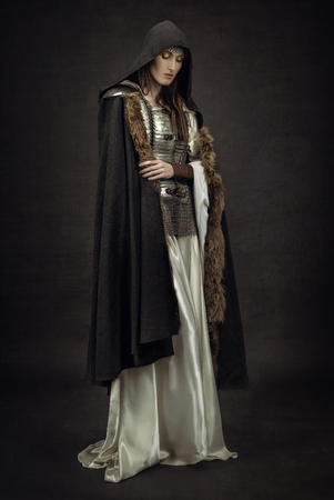 medieval warrior: Beautiful Girl warrior in medieval clothes Stock Photo