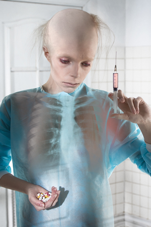 balding: Portrait of sick balding woman in the hospital