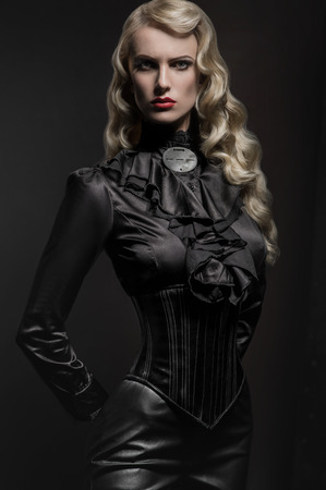 Beauty portrait of woman in military hat