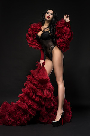 glamour makeup: Sexy brunette woman in black underclothes and red fluffy bolero on dark background