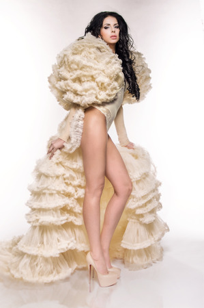 bolero: Sexy brunette woman in white underclothes and light fluffy bolero on white background Stock Photo