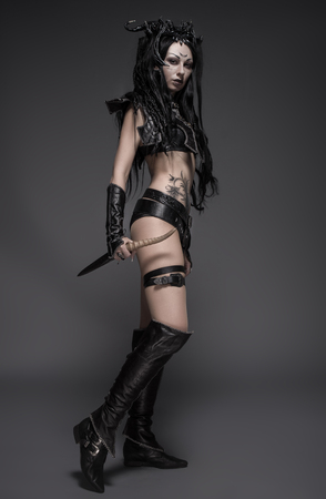 warrior: Woman dark elf warrior