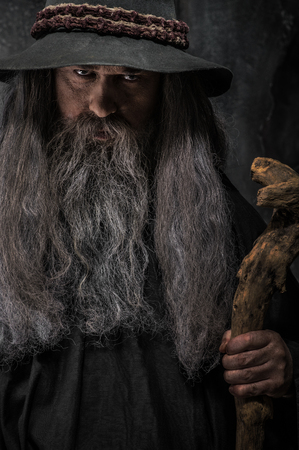 Old sorcerer with a wooden staff