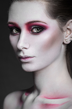 gothic girl: High fashion beauty model girl with pink make up, closeup Stock Photo
