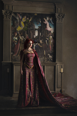 Woman with red hair wearing elegant royal garb and golden crown in ancient castle