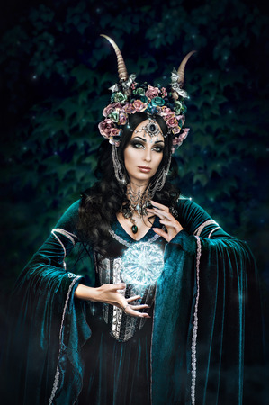fantasy: Beautiful fantasy elf woman in flower crown and medieval dress