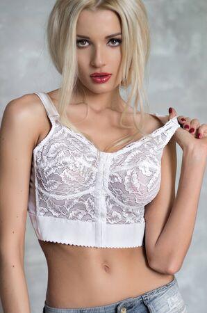 white lingerie: Woman in white lingerie Stock Photo