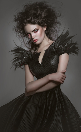 femme fatale: Woman in gothic fashion dress