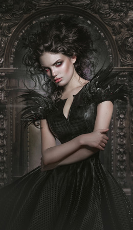 Woman in gothic fashion dress