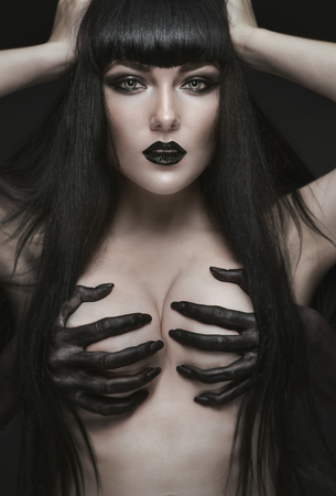 pale: Pretty gothic pale brunette woman