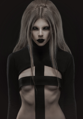 demonic: Gothic woman in creative black outfit