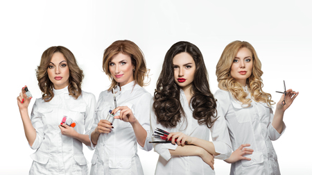 beauty therapist: Beauty salon workers with professional tools