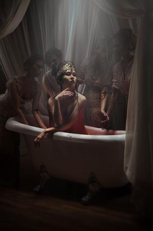 woman in bath: Woman having a blood bath