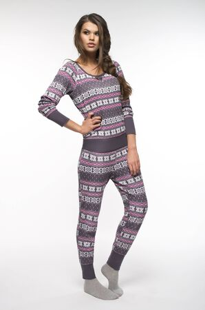 tricot: Woman in pajamas over white backround