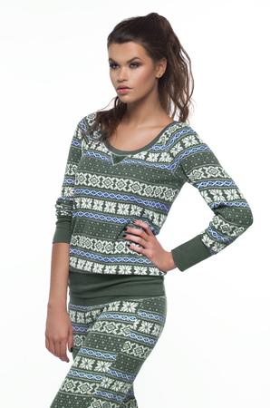 sleepwear: Woman in pajamas over white backround