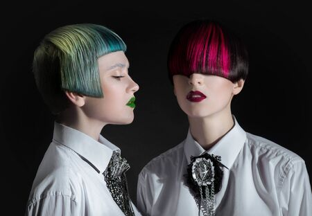 dyed hair: Dark portrait of pale gothic women with creatively dyed hair