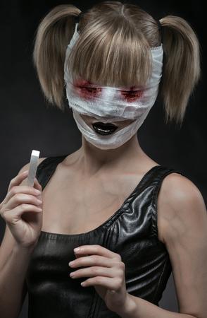 gothic fetish: Gothic girl with bandaged face