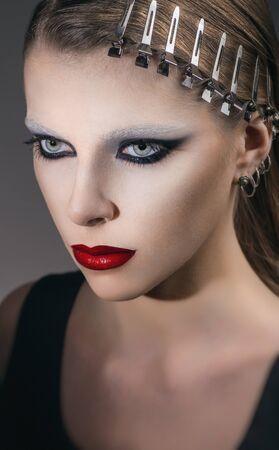 barrettes: Fashion portrait with metal barrettes