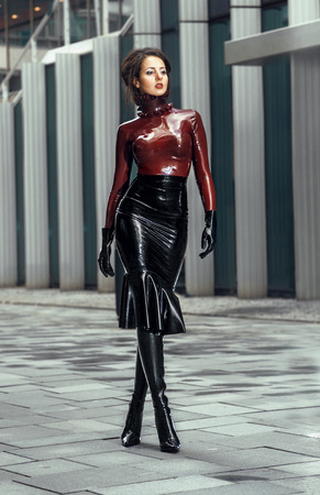 Woman in latex costume