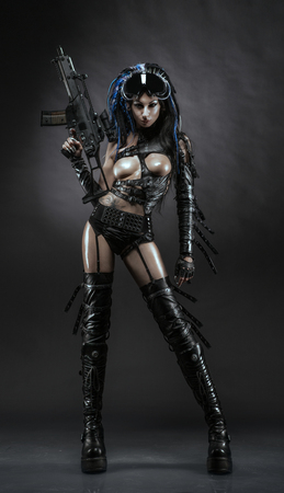 Futurictic girl in sexy hunter costume