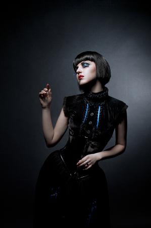 gothic woman: Studio portrait of gothic woman