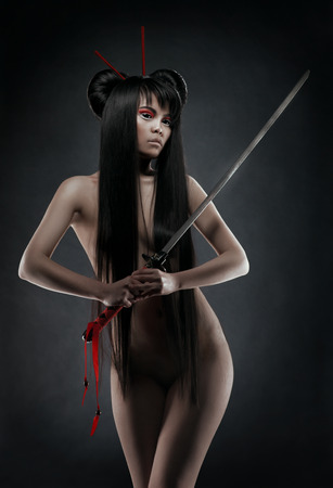 naked girl black hair: Oriental nude woman with sword
