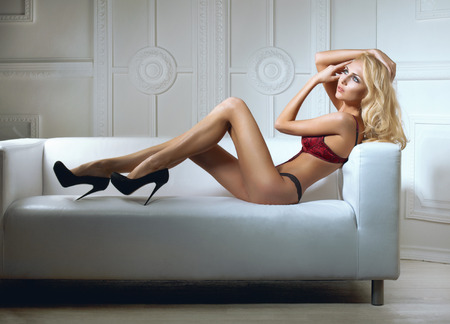 seductive women: Sexy woman in lingerie in bed