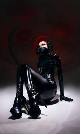catsuit: Woman in  fetish cat-suit