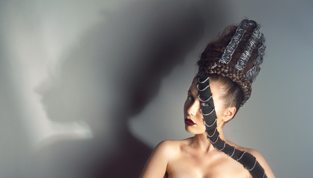 barrettes: Conceptual studio portrait of young woman with creative makeup and hairstyle Stock Photo