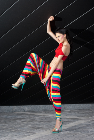 vibrancy: Fashion model in colorful outfit Stock Photo