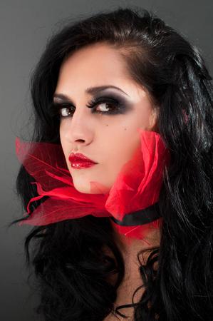 jabot: Studio beauty portrait of sexy brunette