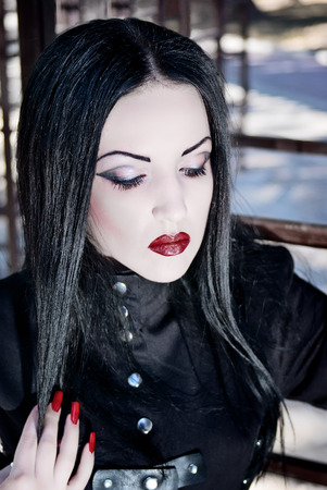 outfit: Model in gothic outfit