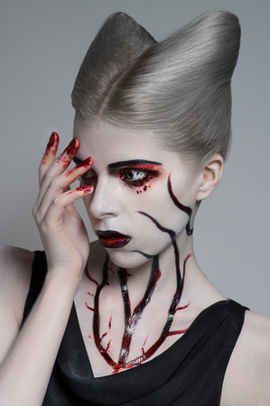 scary girl: Scary girl with bloody body art
