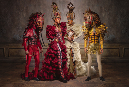 chess men: Chess queens with men in horse masks
