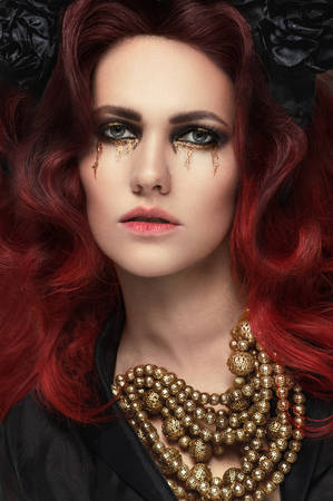 red haired woman: Red haired woman with golden tears