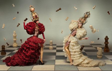 Battle of chess queens 免版税图像