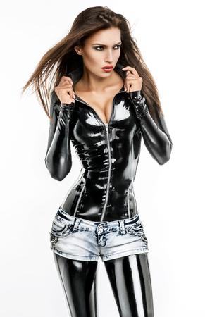 黒のラテックス衣装の女性 写真素材