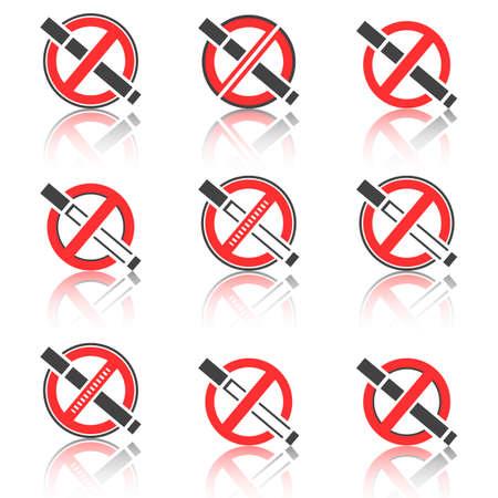 pernicious: Set of abstract icon of the warning of a smoking ban. No smoking icon. Illustration