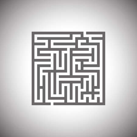 escape plan: Maze emblem. Abstract maze element.