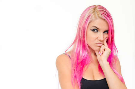 envious: Pink hair woman looking enviously Stock Photo