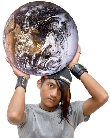 Asian emo, goth or punk teen with long colored hair cap throwing the globe in an empowering and firm gesture. Concept of youth or emo global power. Isolated over white. Stock Photo