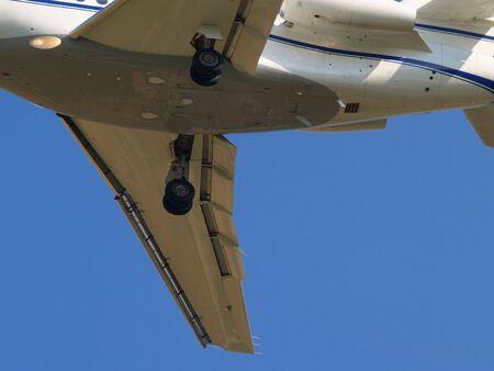 Bottom detail of landing airplane.