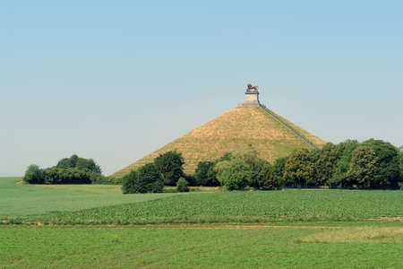 defeated: The famous memorial hill on the battlefield in the rolling countryside of Waterloo, Belgium, where the French emperor Napoleon was defeated decisively by an alliance of English, German, Prussians and Dutch in 1815, ending 20 years of French expansionism i Editorial