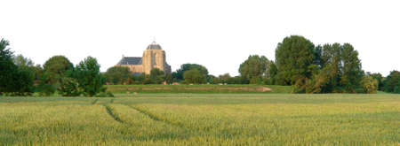 Panorama of the old Dutch historic city of Zierikzee, with church and wheat fields in the foreground. The copy space can be cropped for a banner or header. photo