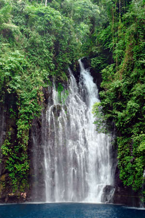 Tropical waterfall with pond in a pristine rain-forest and jungle setting. Tinago Falls near the City of Waterfalls, Iligan, Mindanao, Philippines. 8° 9'33.65