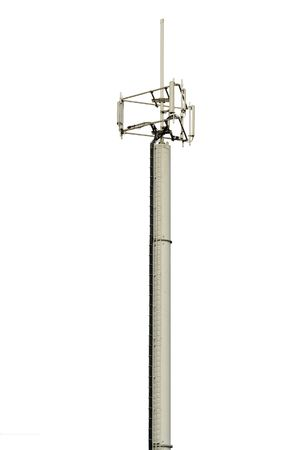 A cell phone antenna mast for GSM, GPRS and 3G (UMTS) microwave transmissions, Belgian European model. Isolated over perfect white (#FFFFFF).