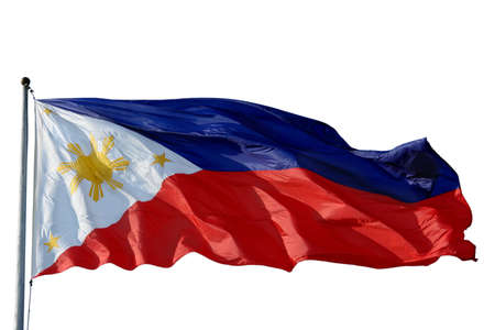 waiving: Flag of the Philippines isolated over white.