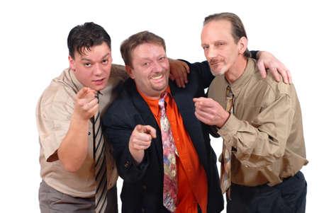geschniegelt: Drei Slick-Punk-Alternative Verschw�rung, wie Verkaufs-oder Gesch�ftsleute Spott und Lachen in der �ffentlichkeit. Konzept von Gleit-und Alternative.  Lizenzfreie Bilder