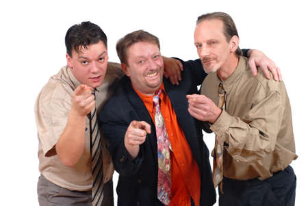 Three slick punk-like alternative conspiring sales or business men mocking and laughing at the public. Concept of slick and alternative business.