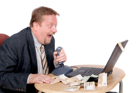 Businessman or stock exchange trader with joystick on PC, shooting for money online, making snappy decisions, yielding in success and euro banknotes. Isolated over white.